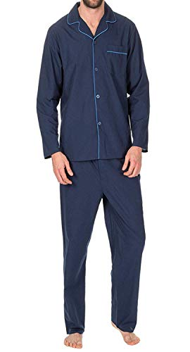 Mens Plain Poly Cotton Pyjamas Set (Small, Navy) from Best Deals Direct