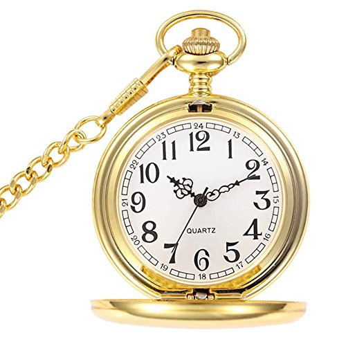 BestFire Pocket Watch Vintage Smooth Quartz Pocket Watch Classic Fob Watch with Short Chain for Men Women -- Gift Box for Birthday Anniversary Day Christmas Fathers Day (Gold) from BestFire