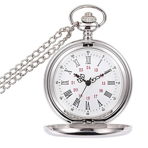 BestFire Pocket Watch Vintage Smooth Quartz Pocket Watch Classic Fob Watch with Short Chain for Men Women -- Gift Box for Birthday Anniversary Day Christmas Fathers Day (White) from BestFire