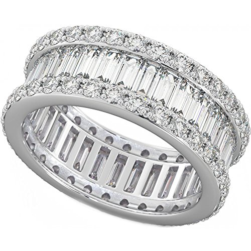 Ladies 925 Sterling Silver Baguette Cut Created Diamond CZ Full Eternity Wedding Ring O from BestToHave