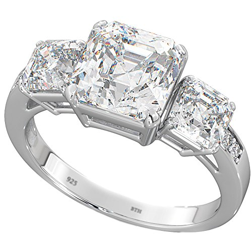 Ladies Ring - 3-Stone Asscher Cz 925 Sterling Silver Wedding Engagement Bridal Ring K from BestToHave