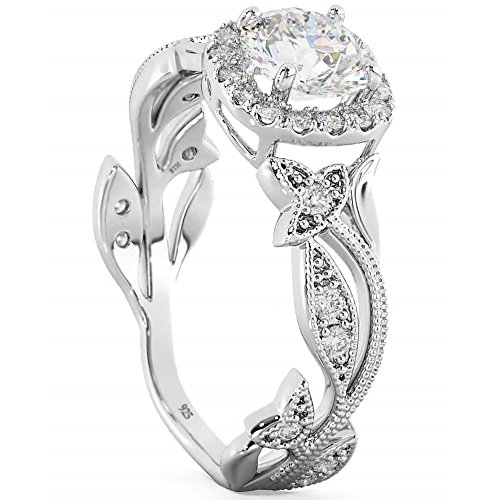 Ladies Ring - 925 Sterling Silver Floral leaf design Engagement Wedding Ring X from BestToHave