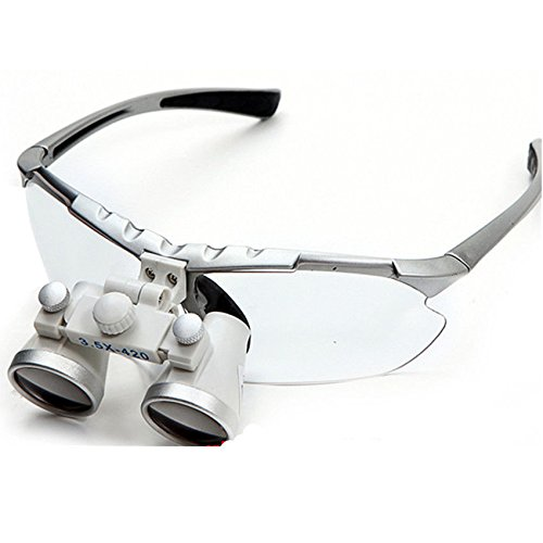 Silver Dental Surgical Medical Binocular Loupes 3.5 X 420 mm Optical Glass from Bestdental