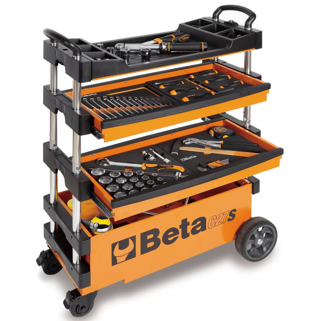 Beta Tools Collapsible Tool Trolley C27S-O Orange Steel 027000201 from Beta Tools
