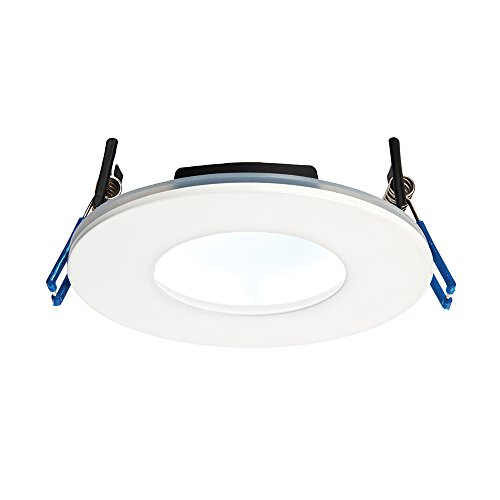 9W Matt White Die Cast Aluminium Fire Rated Bathroom Shower IP65 Dimmable Anti Glare Recessed Cool White 5000K Slim Profile Ceiling LED Downlight from Betta Lighting