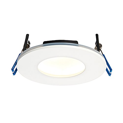 9W Matt White Die Cast Aluminium Fire Rated Bathroom Shower IP65 Dimmable Anti Glare Recessed Warm White 3000K Slim Profile Ceiling LED Downlight from Betta Lighting