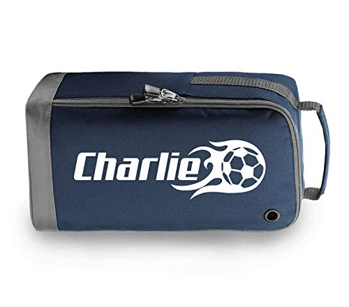 beyondsome Personalised Flame Football Boot Bag Football Gift (Navy Blue/White Print) from beyondsome