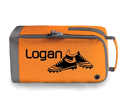 beyondsome Personalised Football Boots Bag Football Gift (Orange/Black Print) from beyondsome