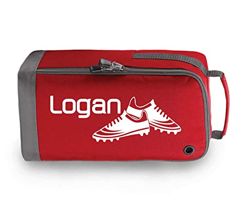 beyondsome Personalised Football Boots Bag Football Gift (Red/White Print) from beyondsome