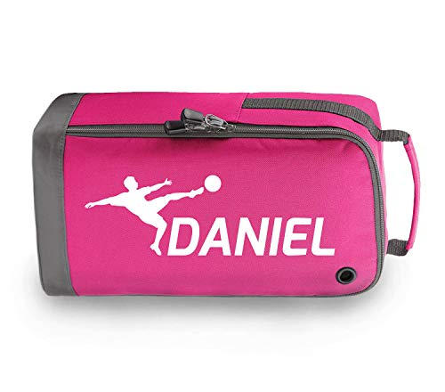 beyondsome Children's Personalised Football Boot Bag (Fuchsia Pink/White Print) from beyondsome