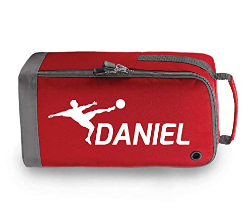 beyondsome Children's Personalised Football Boot Bag (Red/White Print) from beyondsome