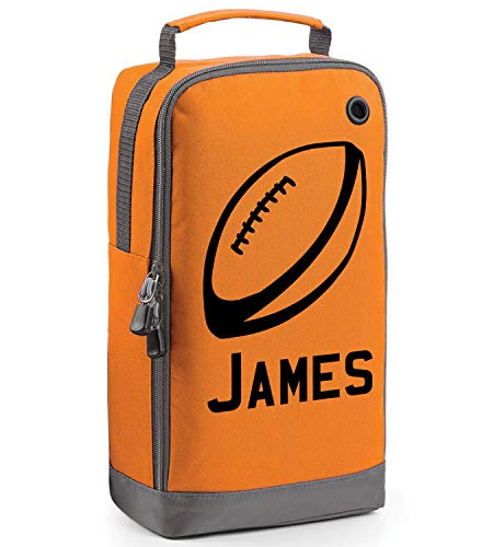 beyondsome Children's Personalised Rugby Ball Boot Bag (Orange/Black Print) from beyondsome
