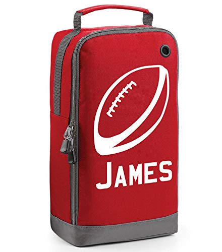 Children's Personalised Rugby Ball Boot Bag (Red / White Print) from Beyondsome