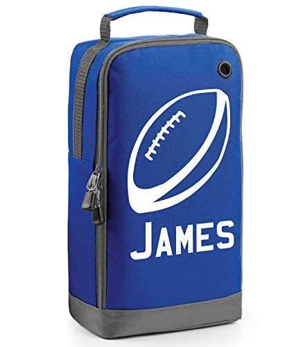 beyondsome Children's Personalised Rugby Ball Boot Bag (Royal Blue/White Print) from beyondsome