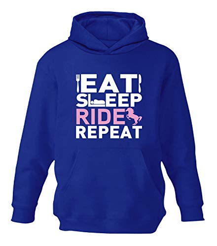 Eat Sleep Ride Repeat Girl's Children's Horse Riding Hoodie (11-12, Royal Blue / White + Baby Pink Print) from Beyondsome
