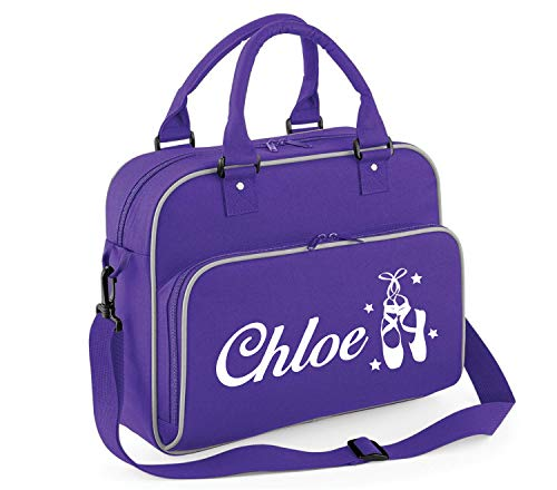 beyondsome Personalised Girls Ballet Shoes Dance Shoulder Bag (Purple & Grey Trim/White Print) from beyondsome