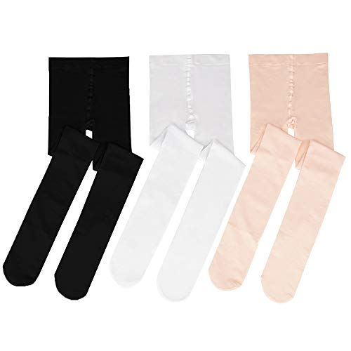 Bezioner Footed Ballet Dance Tights for Kids Girls Women 3 pairs(White+Pink+Black) L from Bezioner