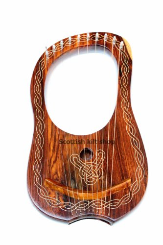 Lyre Harp, 10 String Handmade Engraved Rosewood from Bfigure