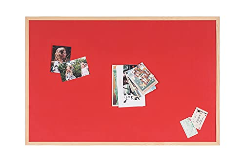 Bi-Office Reversible Notice Board, Cork and Felt , Wood Frame, 90 x 60 cm, Red from Bi-Office
