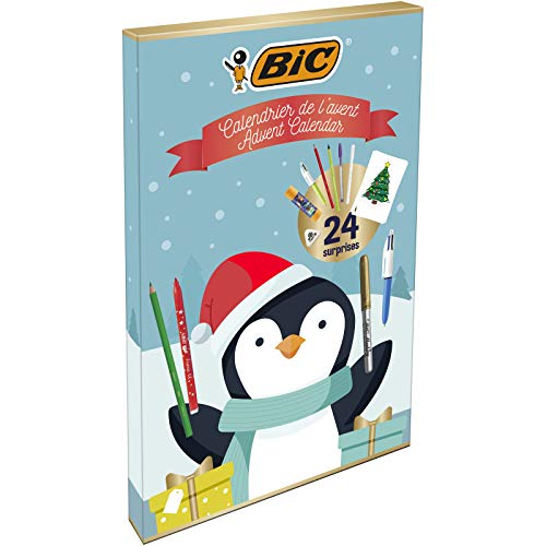 BIC Advent Calendar - 24 Writing Products, 6 Magic Felt Pens/6 Coloured Pencils/4 Colouring Crayons/1 Glue Tube/1 Graphite Pencil/1 Eraser/3 Ball Pens, 24 Postcard & 20 Stickers to colour from Bic