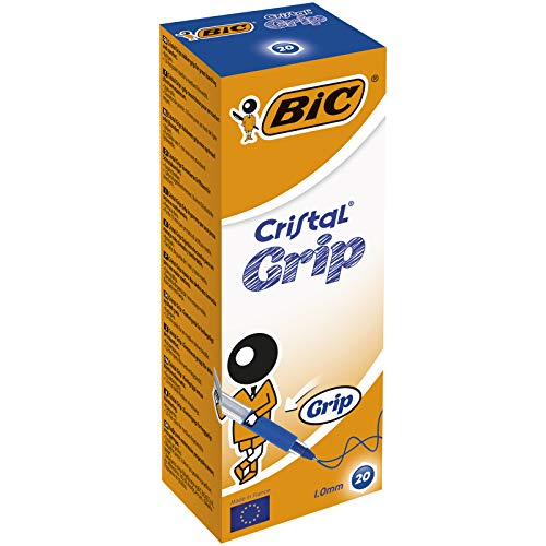 BIC Cristal Grip Ball Pens Medium Point (1.0 mm) - Blue, Box of 20 from Bic