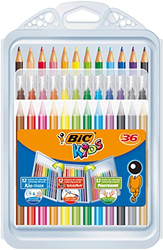 BIC Kids' Colouring in Wallet, Mixed Products - Multi-Coloured, Pack of 36 from Bic