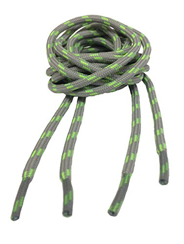 Big Laces Round Grey Neon Green 180cm Bootlaces from Big Laces