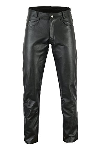 Bikers Gear © Rock and Roll Leather Mens Motorcycle Trousers CE1621-1 PU Armour Premier Cowhide Waist, Black, Size Med from Bikers Gear UK