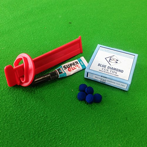 Blue Diamond Cue Tips, Tip Clamp & Bison Super Glue Value Kit (10mm) from Billiards Boutique