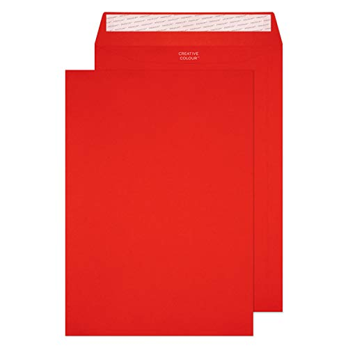 Blake Creative Colour C4 229 x 324 mm 120 gsm Peel & Seal Pocket Envelopes (406P) Pillar Box Red - Pack of 250 from Blake
