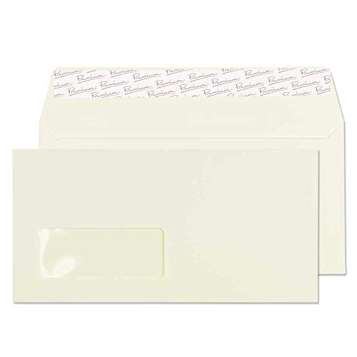 Blake Premium Business DL 110 x 220 mm 120 gsm Peel & Seal Window Wallet Envelopes (71265) Oyster Wove - Pack of 50 from Blake