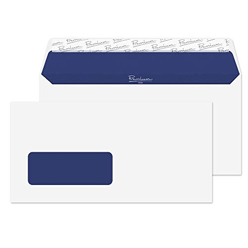 Blake Premium Pure DL 110 x 220 mm 120 gsm Recycled Peel & Seal Window Wallet Envelopes (RP81265) Super White Wove - Pack of 50 from Blake
