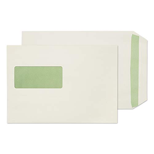 Blake Purely Environmental C5 229 x 162 mm 90 gsm Flora Recycled Pocket Self Seal Window Envelopes (RE3831) Natural White - Pack of 500 from Blake