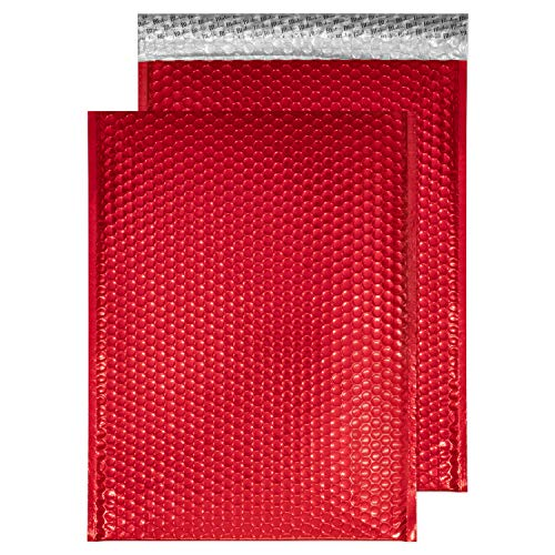 Blake Purely Packaging C3 450 x 324 mm Peel and Seal Metallic Padded Bubble Envelopes (MBR450) Festive Red - Pack of 50 from Blake