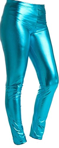 GIRLS METALLIC LEGGINGS (TURQUOISE, 13 YEARS) from Bless