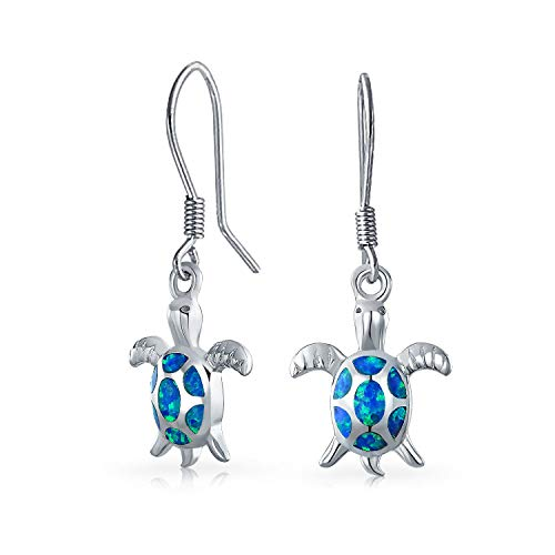 Nautical Aquatic Sea Beach Blue Oval Created Opal Sea Turtle Dangle Drop Earrings For Women Teen 925 Sterling Silver from Bling Jewelry