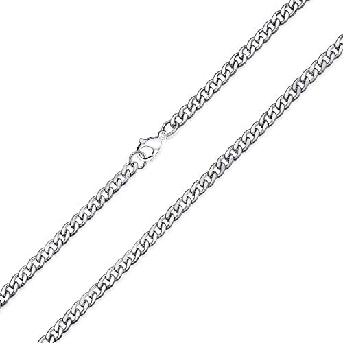 Bling Jewelry 4mm Mens Stainless Steel Curb Cuban Chain Necklace 24in from Bling Jewelry