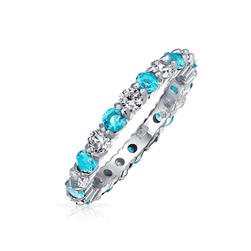 Cubic Zirconia Aqua Blue White Alternating Stackable CZ Eternity Ring Simulated Aquamarine Sterling Silver December from Bling Jewelry