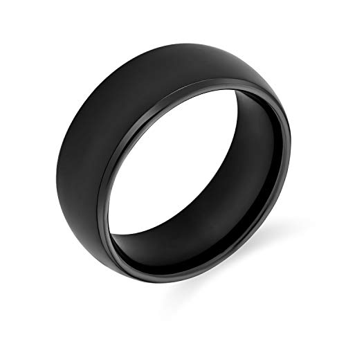 Plain Simple Dome Black Couples Wedding Band Tungsten Ring for Men for Women Comfort Fit 8MM from Bling Jewelry