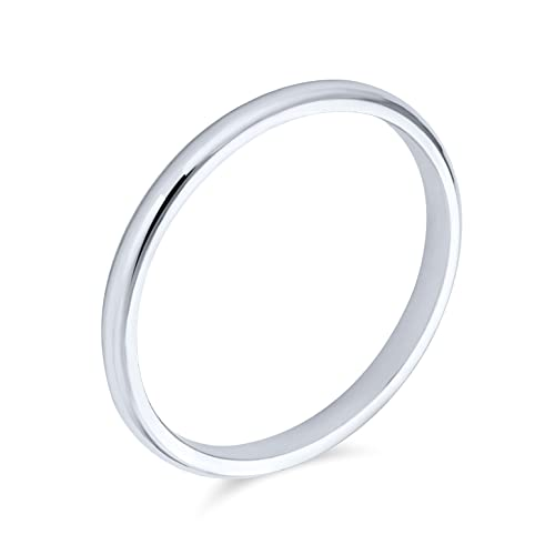 Simple Minimalist Thin Stackable 925 Sterling Silver Couples Wedding Band Ring For Men For Women 2MM from Bling Jewelry