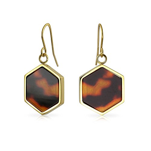Hexagon Shaped Brown Tortoise Shell Dangle Drop Earrings For Women 14K Gold Plated Stainless Steel from Bling Jewelry