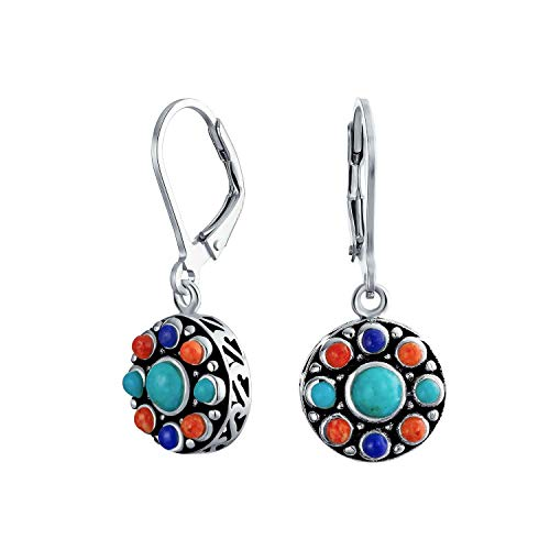 Southwestern Style Multi Stone Sterling Lapis Stabilized Turquoise Orange Coral Dangle Leverback Earrings For Women from Bling Jewelry