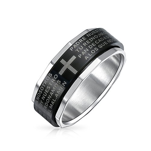 Bling Jewelry Religious Padre Nuestro Lords Pray Cross Black Spinner Band Ring for Men for Women Silver Tone Edge Stainless Steel from Bling Jewelry