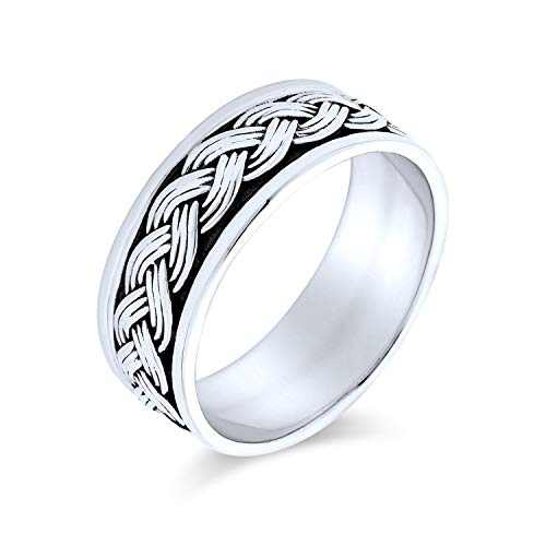 Mens Wheat Twisted Wide Rope Braid Band Ring For Women Beveled Edge Oxidized 925 Sterling Silver from Bling Jewelry