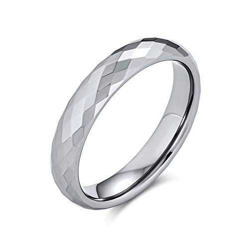Bling Jewelry Couples Multi Faceted Prism Cut Wedding Band Tungsten Rings for Men for Women Silver Tone Comfort Fit 4MM from Bling Jewelry