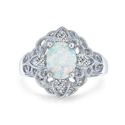 Bling Jewelry Vintage Style Cubic Zirconia Ornate Filigree Oval Flower White Created Opal Boho Full Finger Ring 925 Sterling Silver from Bling Jewelry