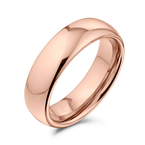 Bling Jewelry Plain Simple Dome Couples Wedding Band Rose Gold Plated Tungsten Ring for Men for Women Comfort Fit 6MM from Bling Jewelry