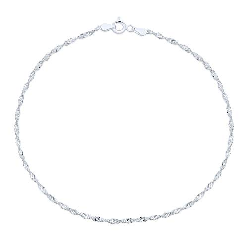 Singapore Chain Twisted Curb Anklet Ankle Bracelet For Women Hot wife 925 Sterling Silver Made In Italy 10 Inch from Bling Jewelry