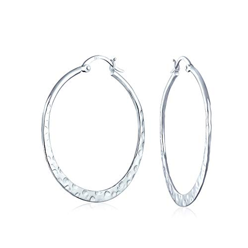 Bling Jewelry Sterling Silver Hammered Hoop Earrings from Bling Jewelry