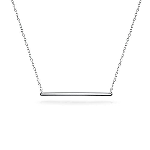 Thin Minimalist Sideways Horizontal Round Station Bar Pendant Necklace For Women For Teen 925 Sterling Silver 16 Inch from Bling Jewelry